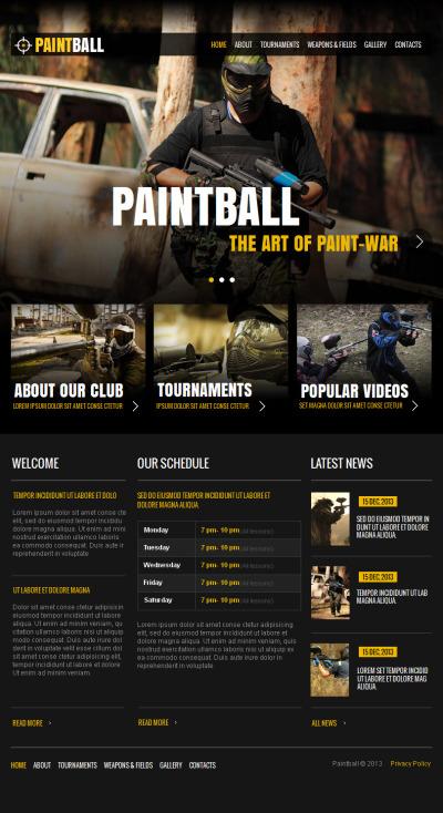 Templates CMS Em HTML De Facebook №42729 para Sites de Paintball