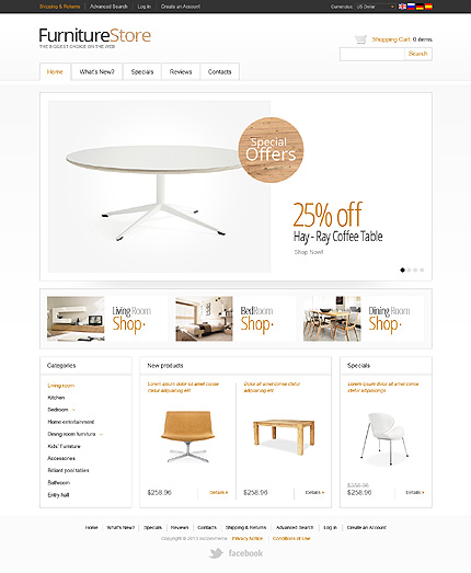 osCommerce Template 42868 Main Page Screenshot