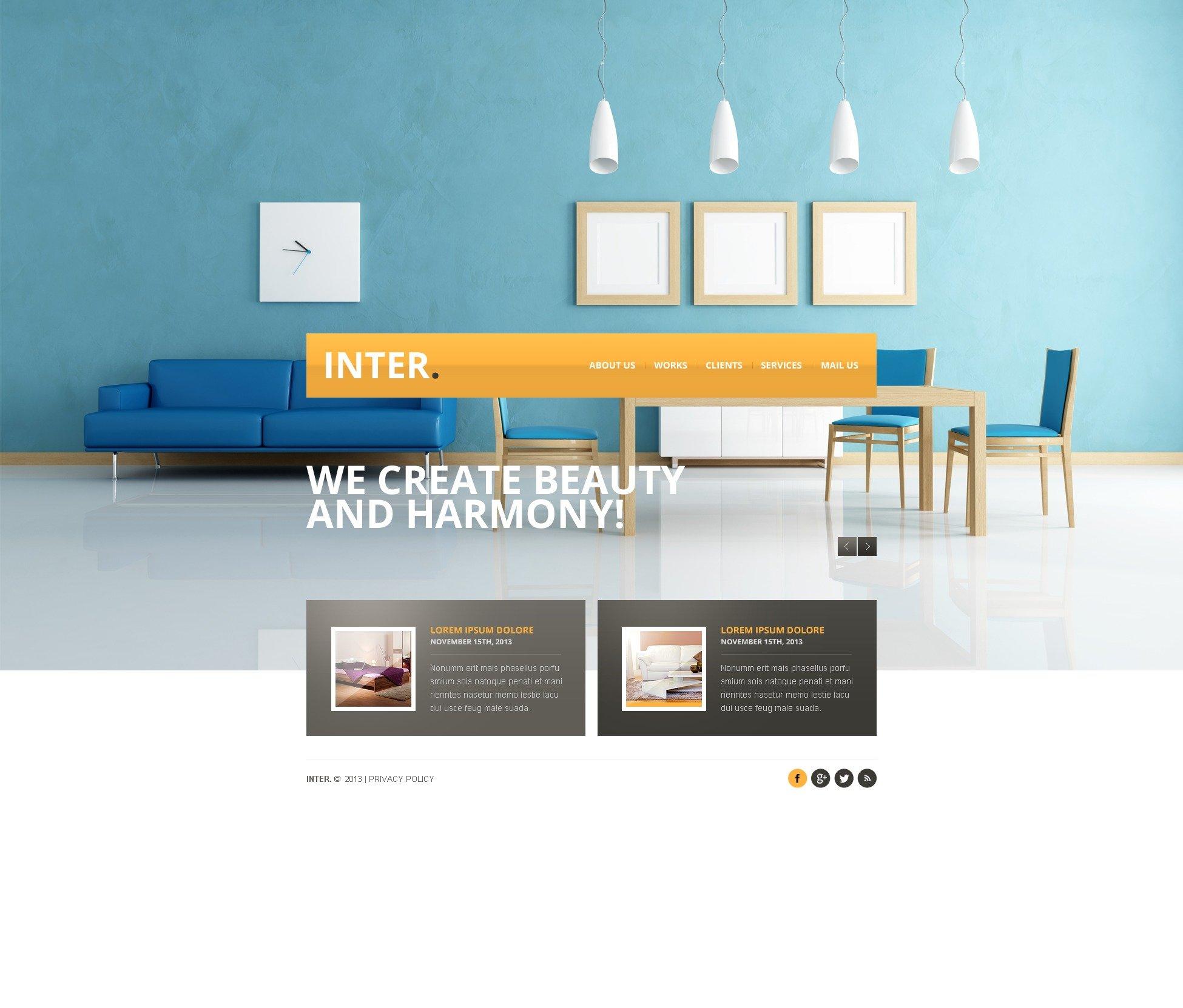 Interior design website template 42812 for Interior design sites