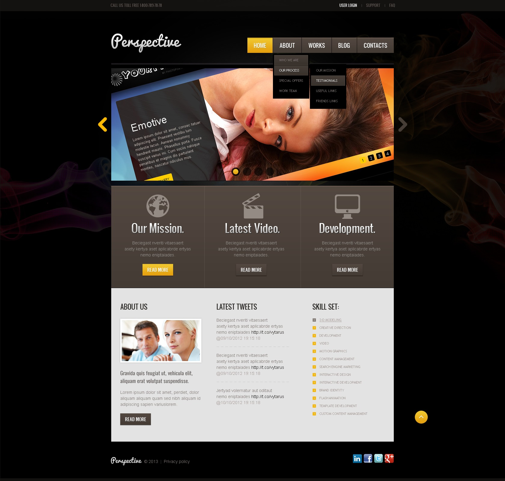"Joomla Vorlage namens ""Black Design Studio"" #42884 - Screenshot"