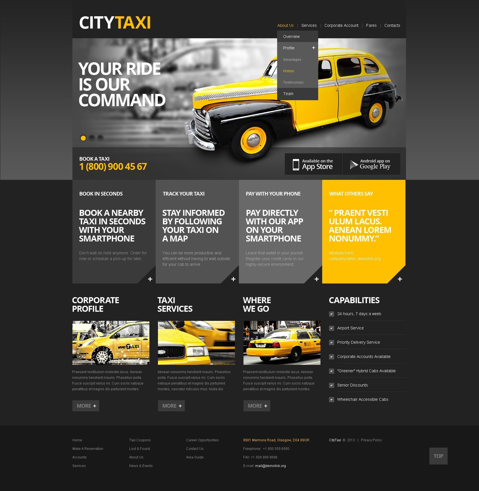 Taxi Website Template 42804