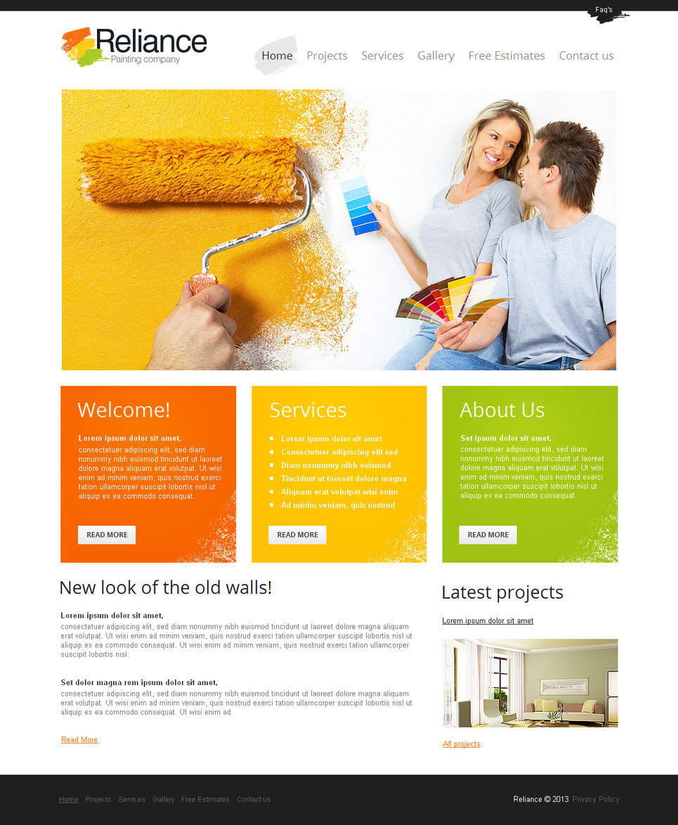 Painting Company Website Template Created in Metro Style - image