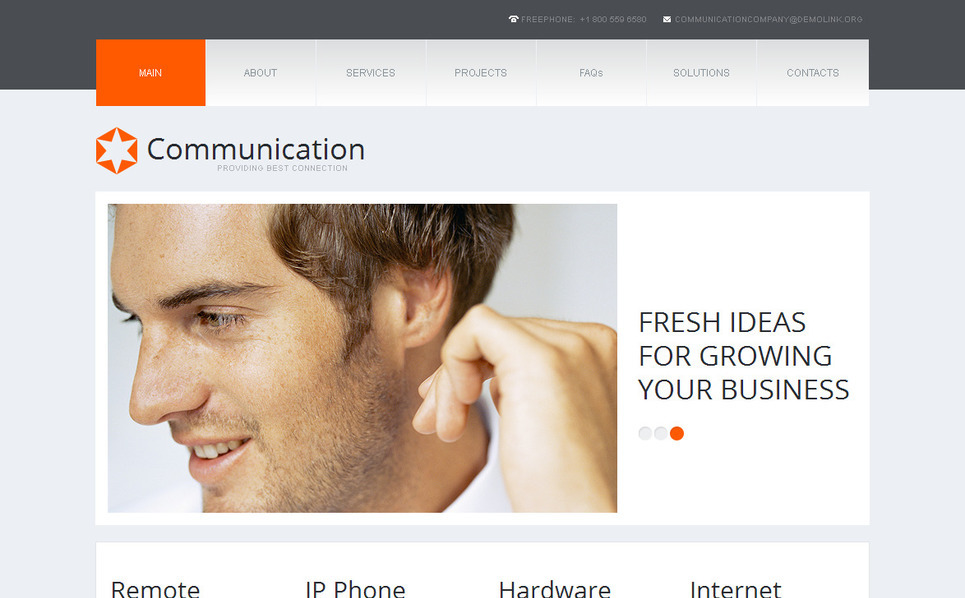 Luxusní Moto CMS HTML šablona na téma Komunikace New Screenshots BIG