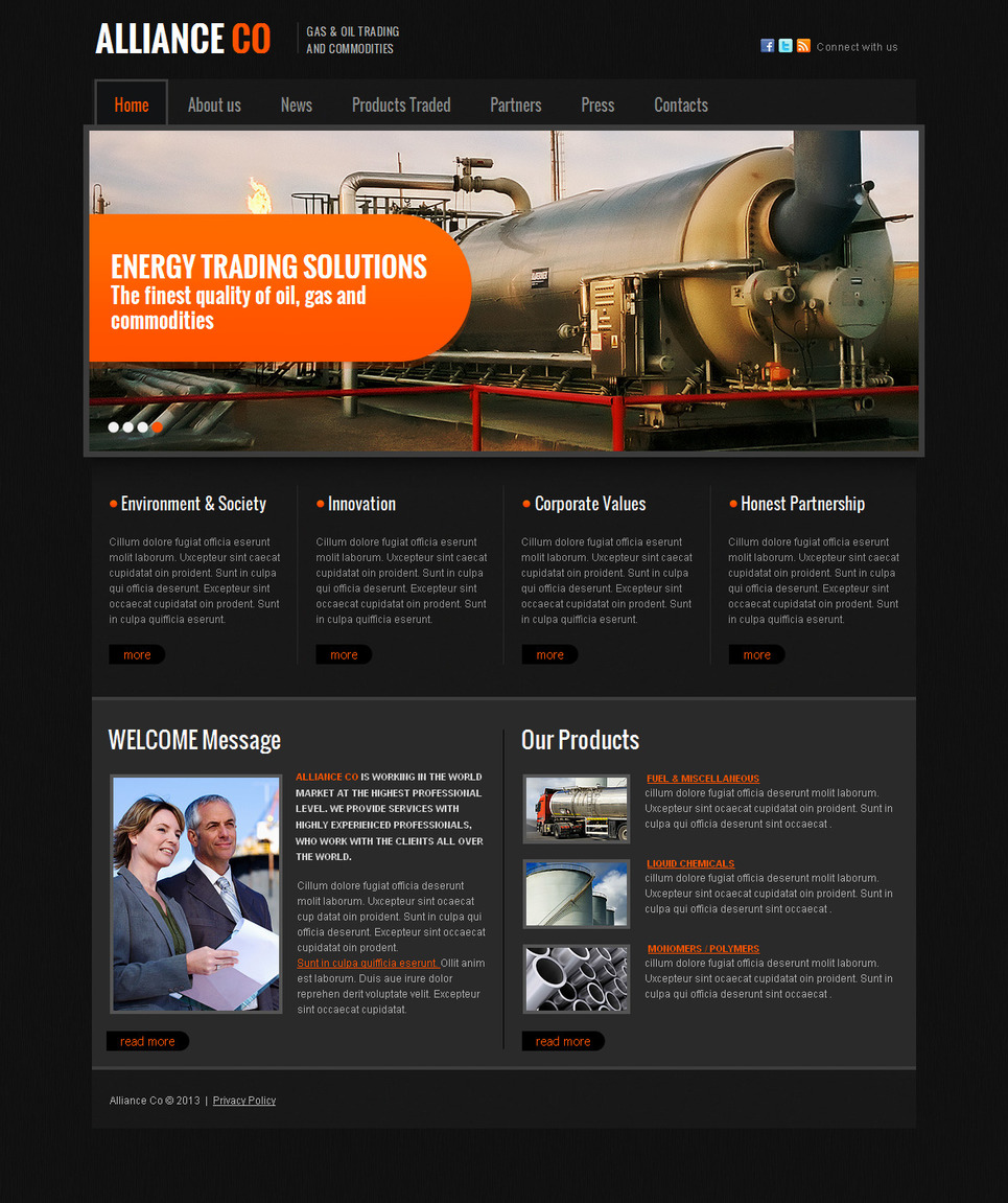 Industrial Website Template in Dark Style with Background Pattern - image