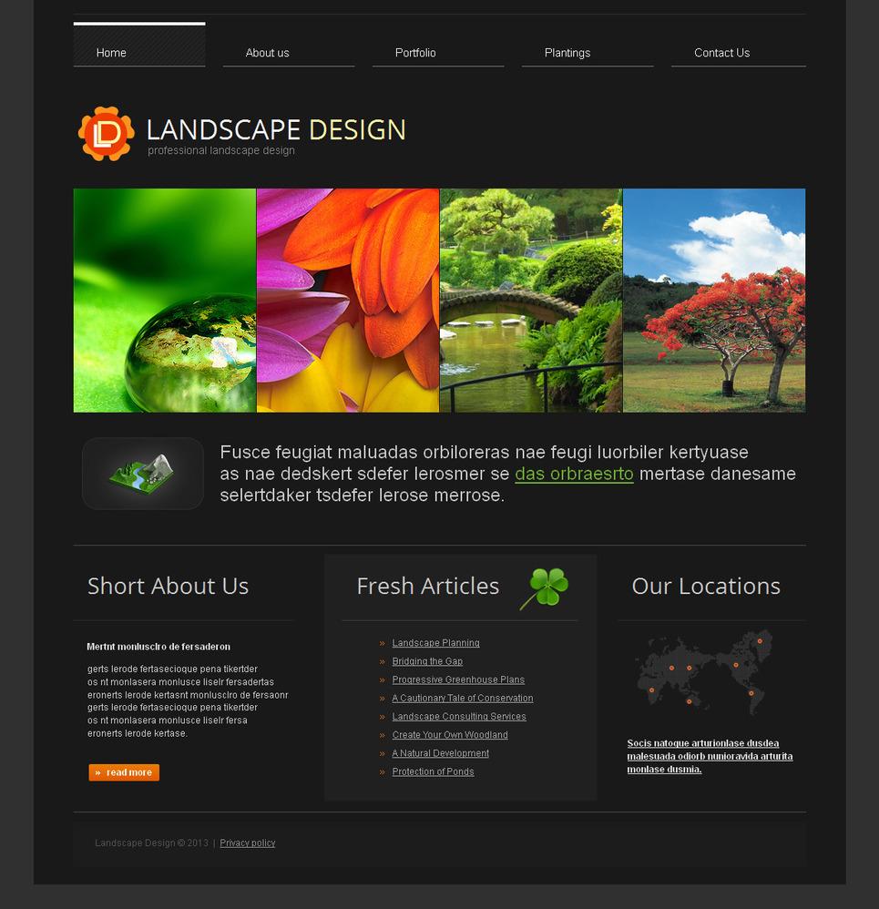 Landscape Design Web Template Done in Black Color - image