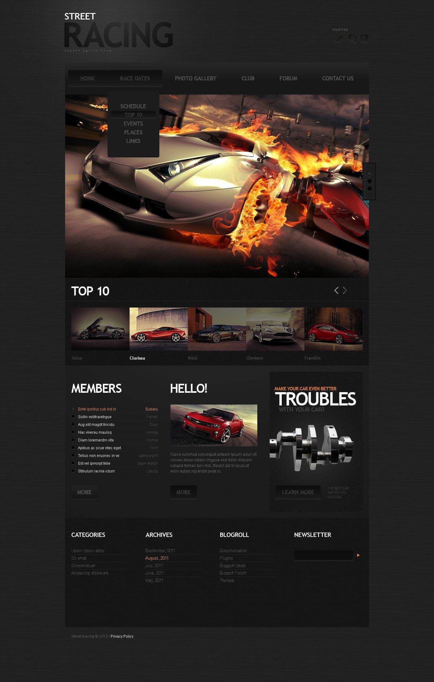 Car Racing Website Template #42902