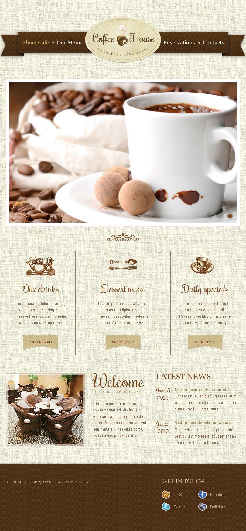 Luxusní Facebook HTML CMS šablona na téma Coffee Shop Templates #42961 - screenshot