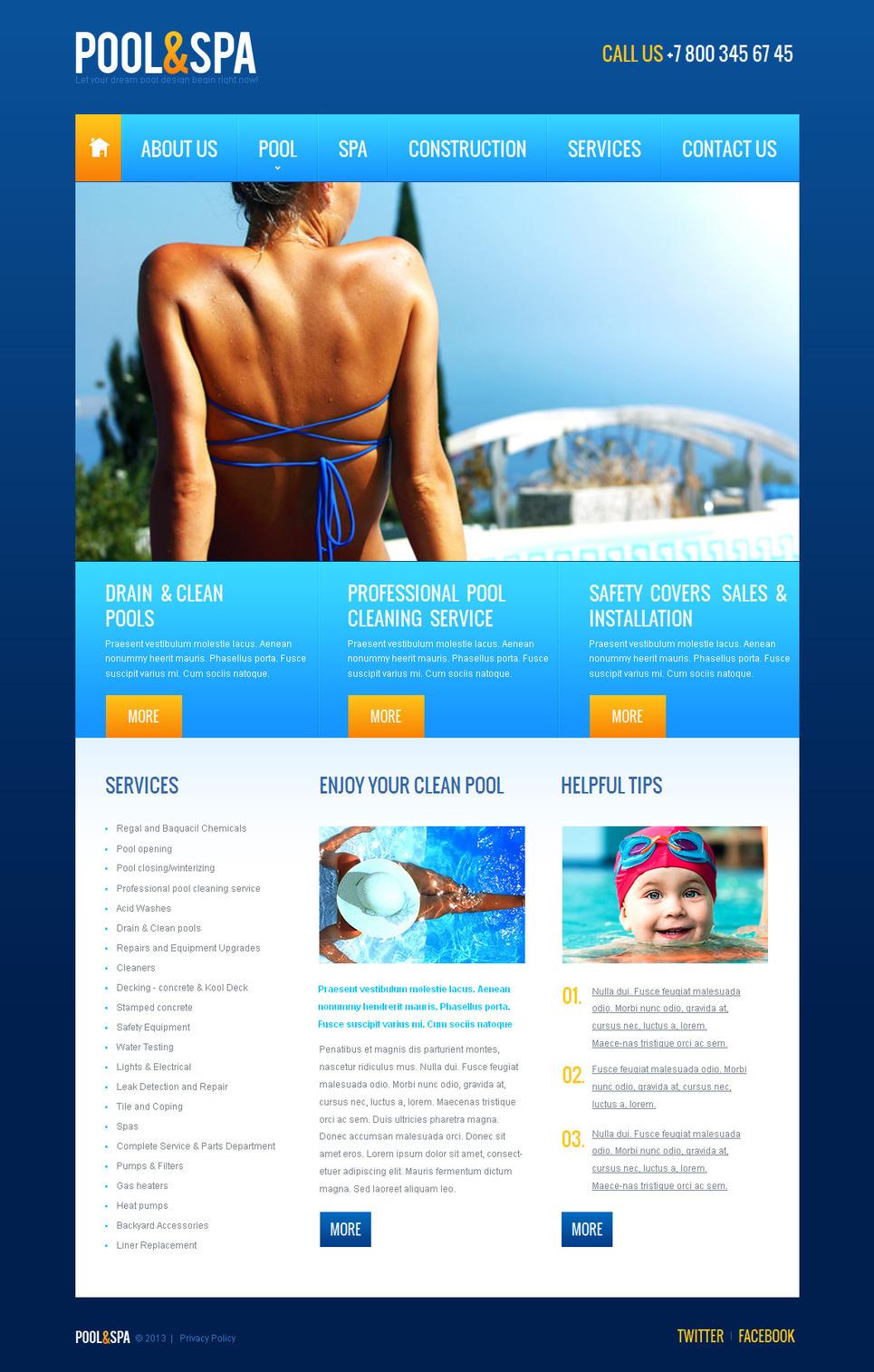 Pool Cleaning Moto CMS HTML Template New Screenshots BIG