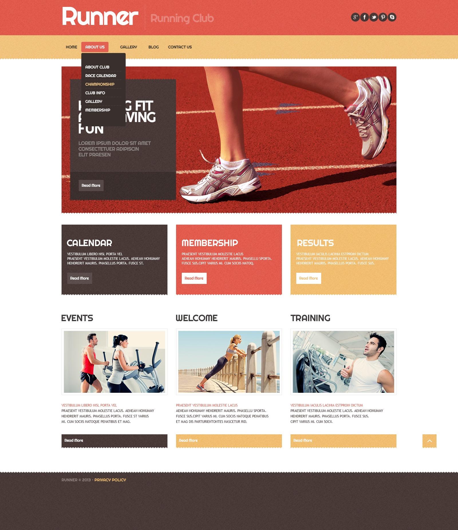 """""""Running Sport"""" Responsive WordPress thema №42973 - screenshot"""