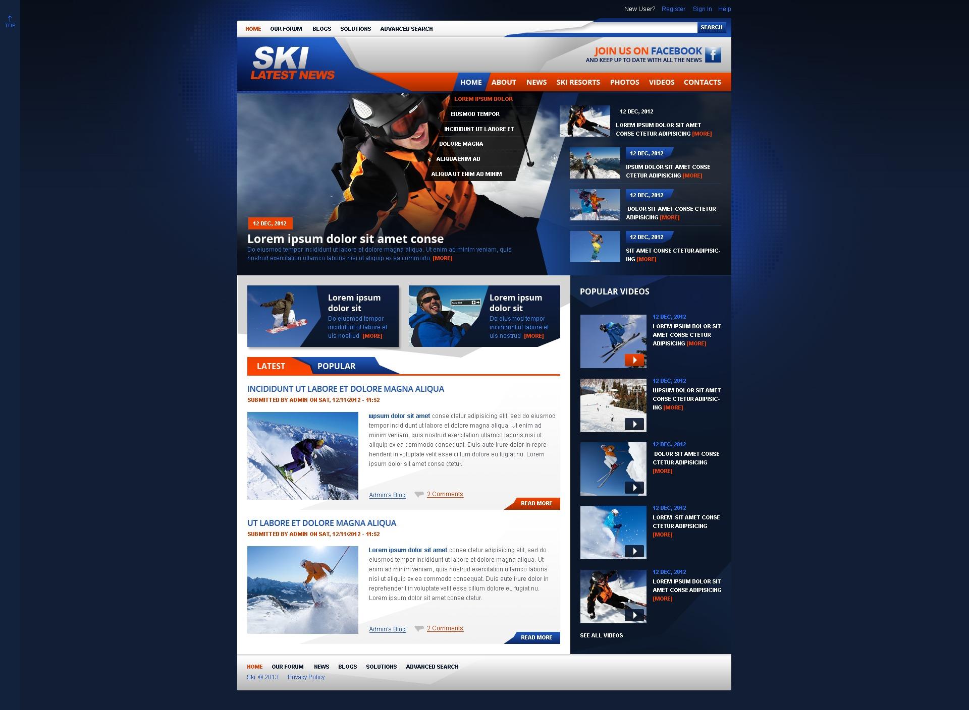 """Sport de skis"" thème Drupal  #42924 - screenshot"