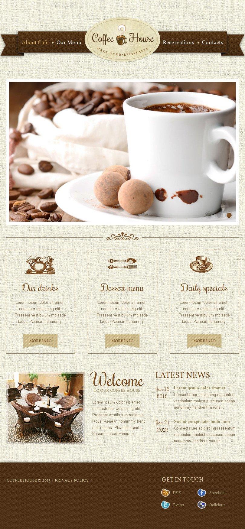 Templates CMS em HTML de Facebook para Sites de Para Loja de Café №42961 - captura de tela