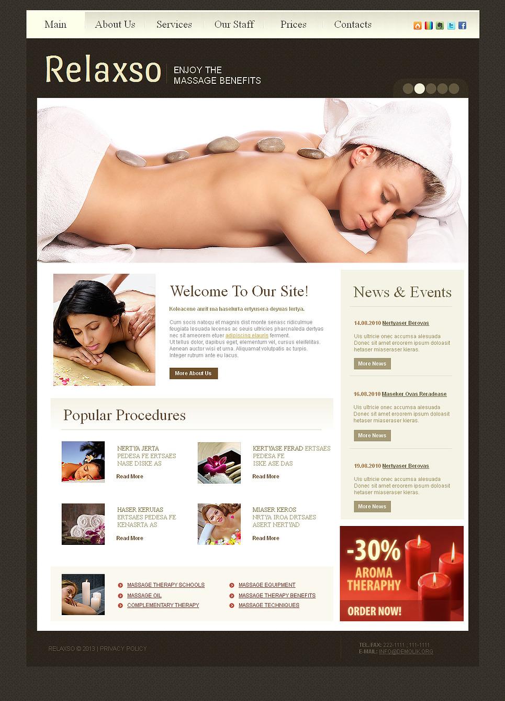 Massage Website Template with Dark Background - image