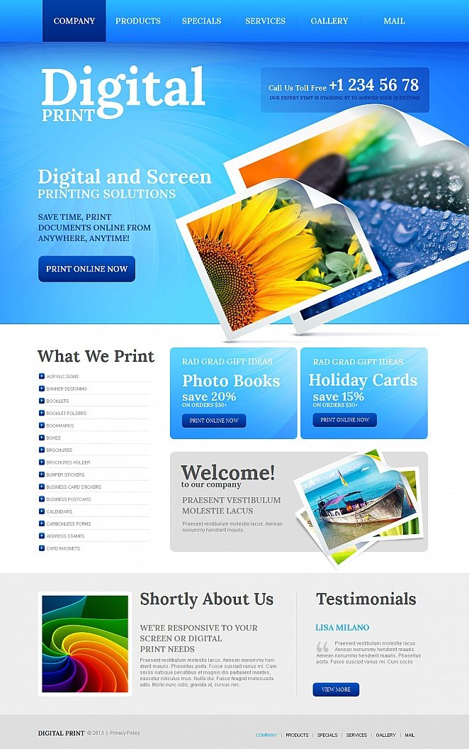 printing company template with a nice blue header motocms
