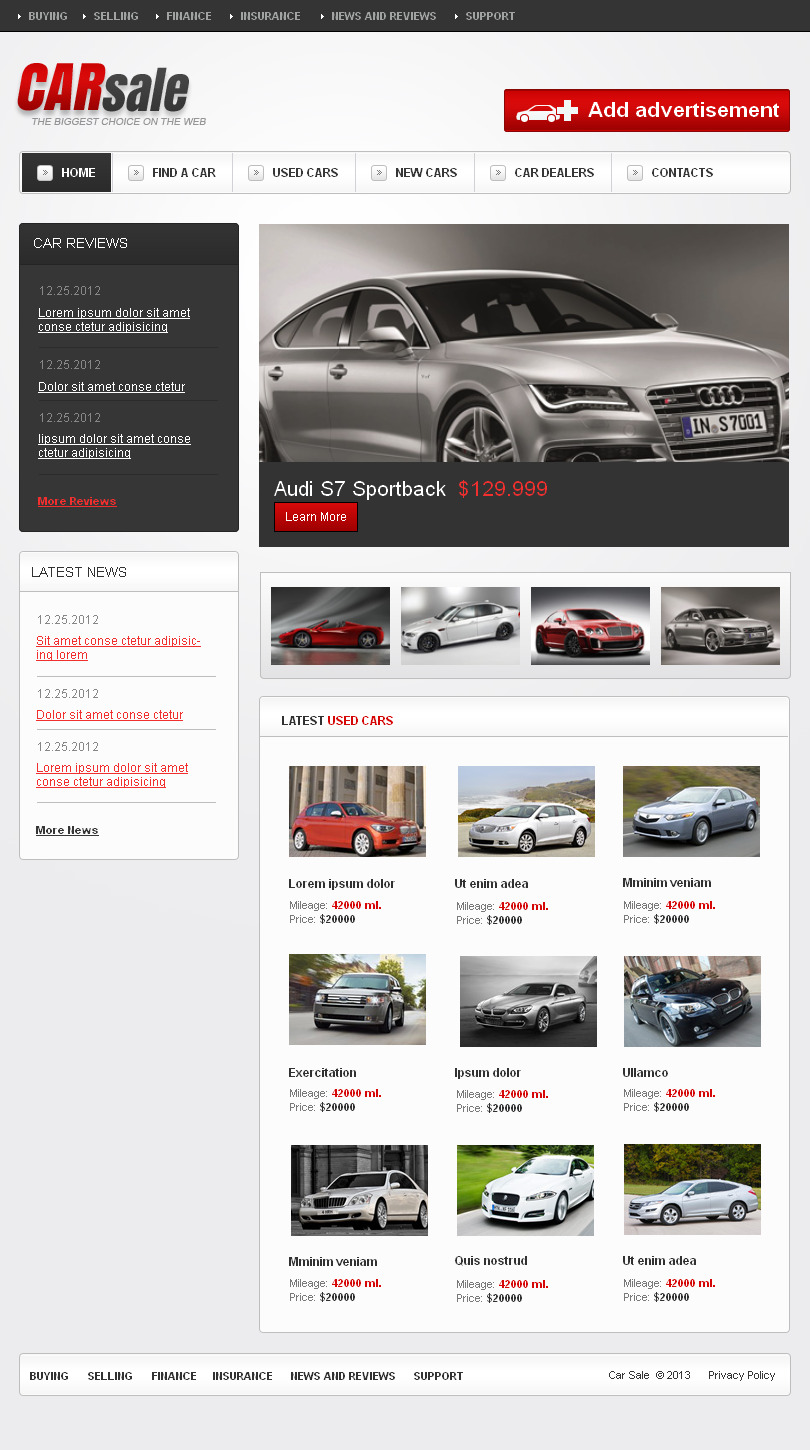 Car dealer facebook html cms template