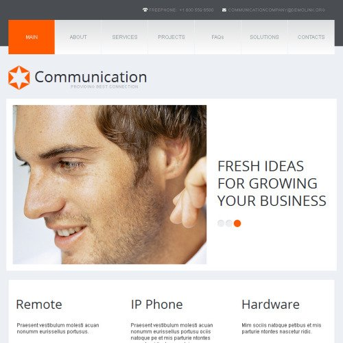 Communications - Facebook HTML CMS Template