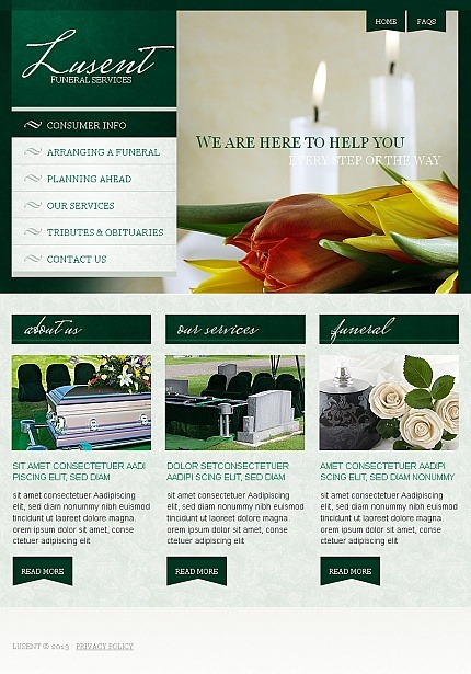 Funeral Services Facebook HTML CMS Template Facebook Screenshot