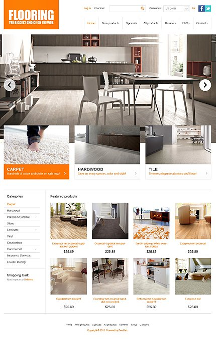 ZenCart Template 43110 Main Page Screenshot