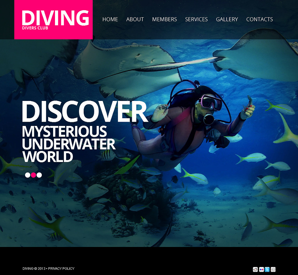 Diving Website Template with a Slideshow Background - image
