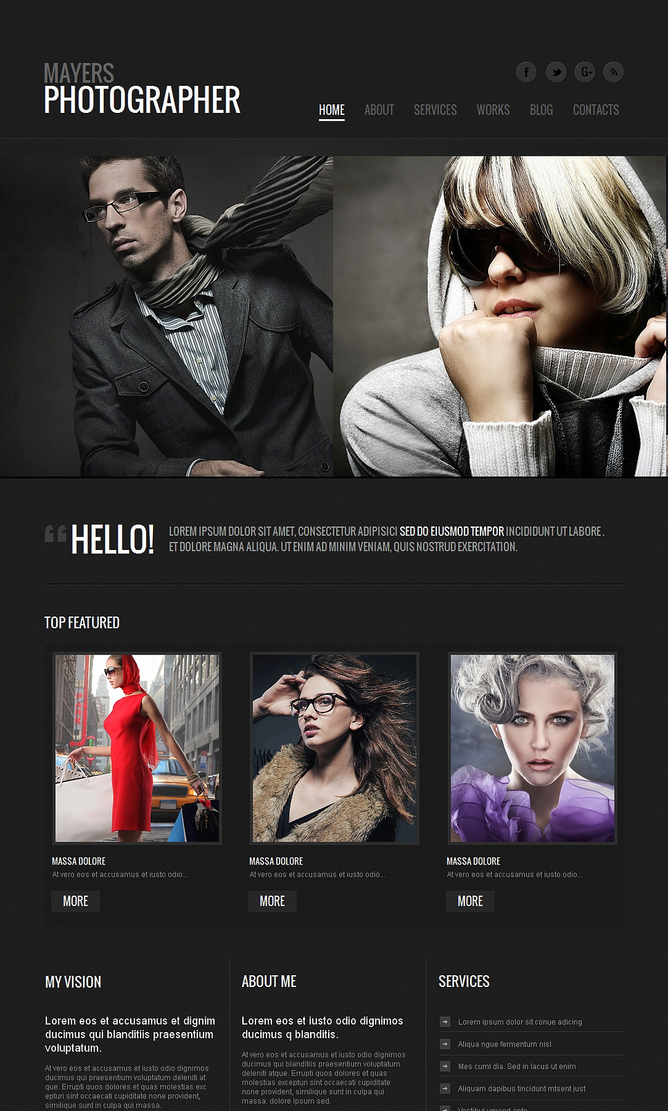 Dark Portfolio Website Template with Sliding Gallery - image