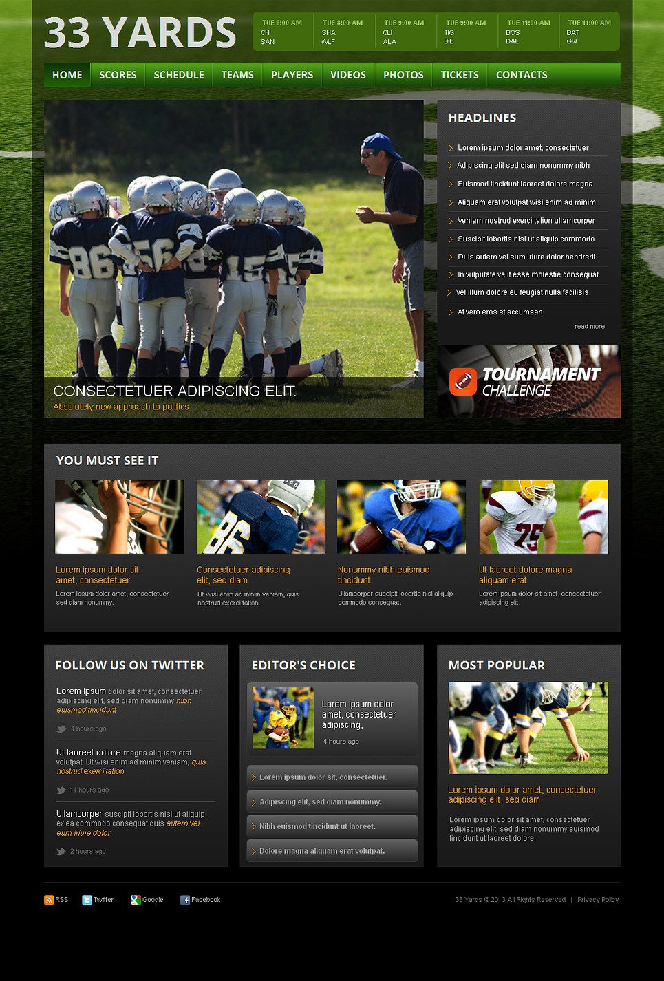 Rugby Website Template with a jQuery Gallery - image