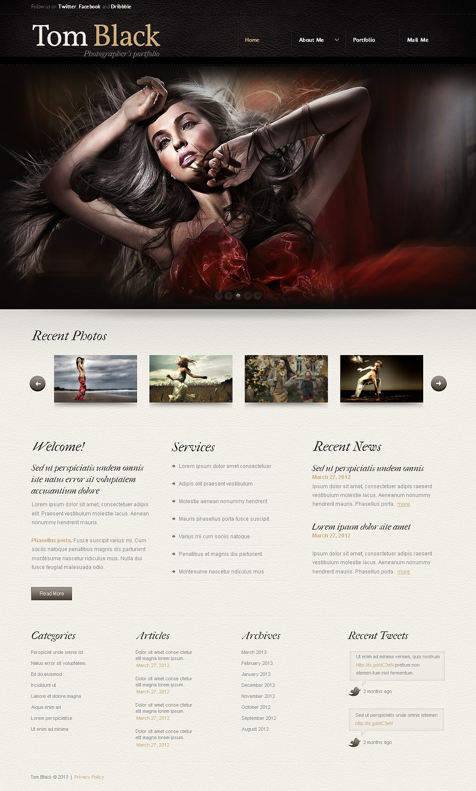 Photography Portfolio Website Template with a Leather Header - image