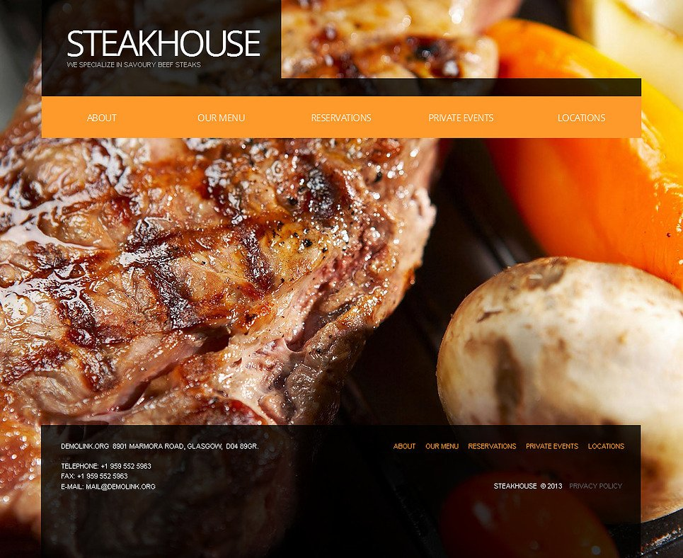 Cafe and Restaurant Website Template with a Big Photo as a Background - image