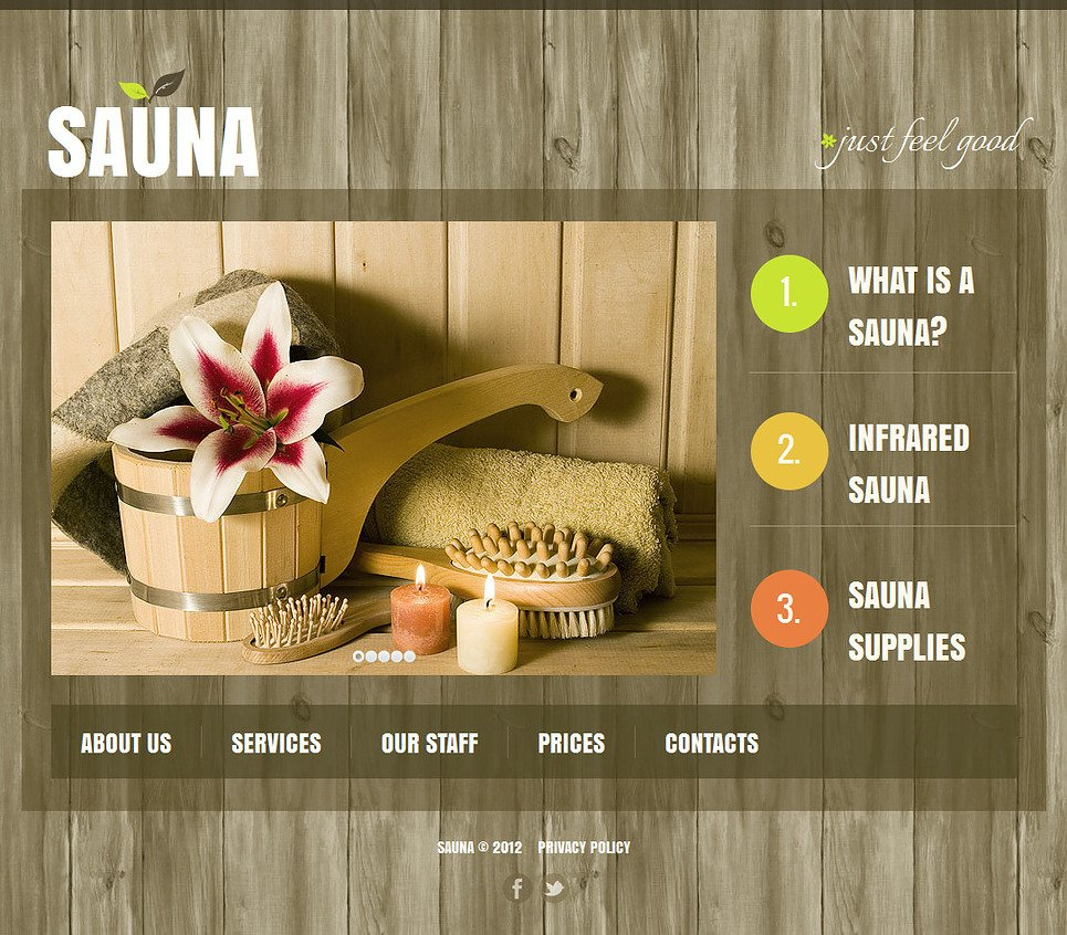 Sauna Website Template with Wood Textured Background - image