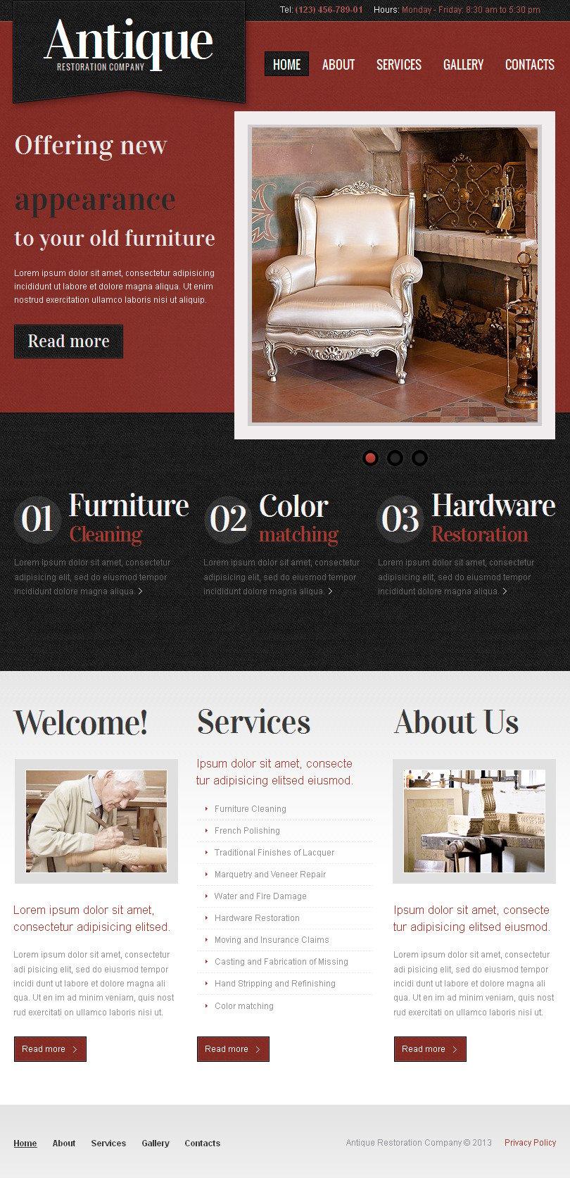 antique store facebook html cms template 43154. Black Bedroom Furniture Sets. Home Design Ideas