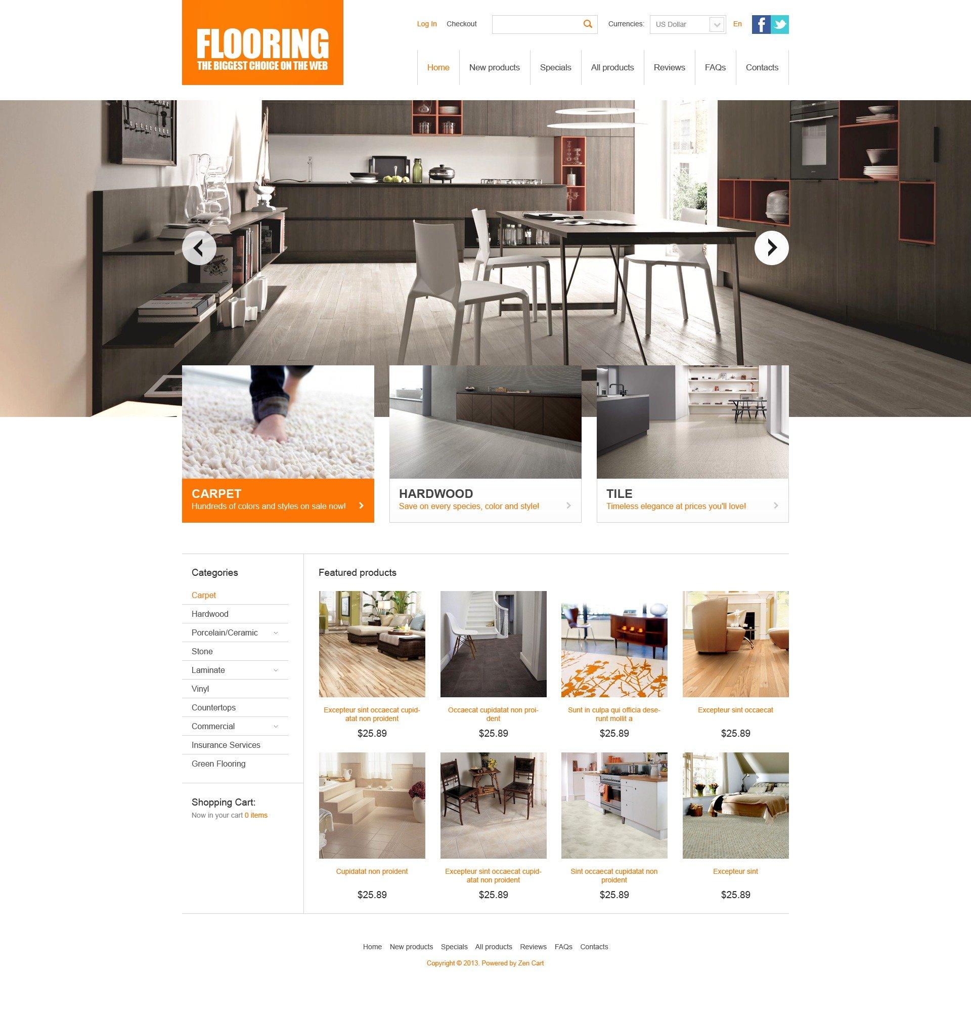 Flooring Theme ZenCart Template - screenshot