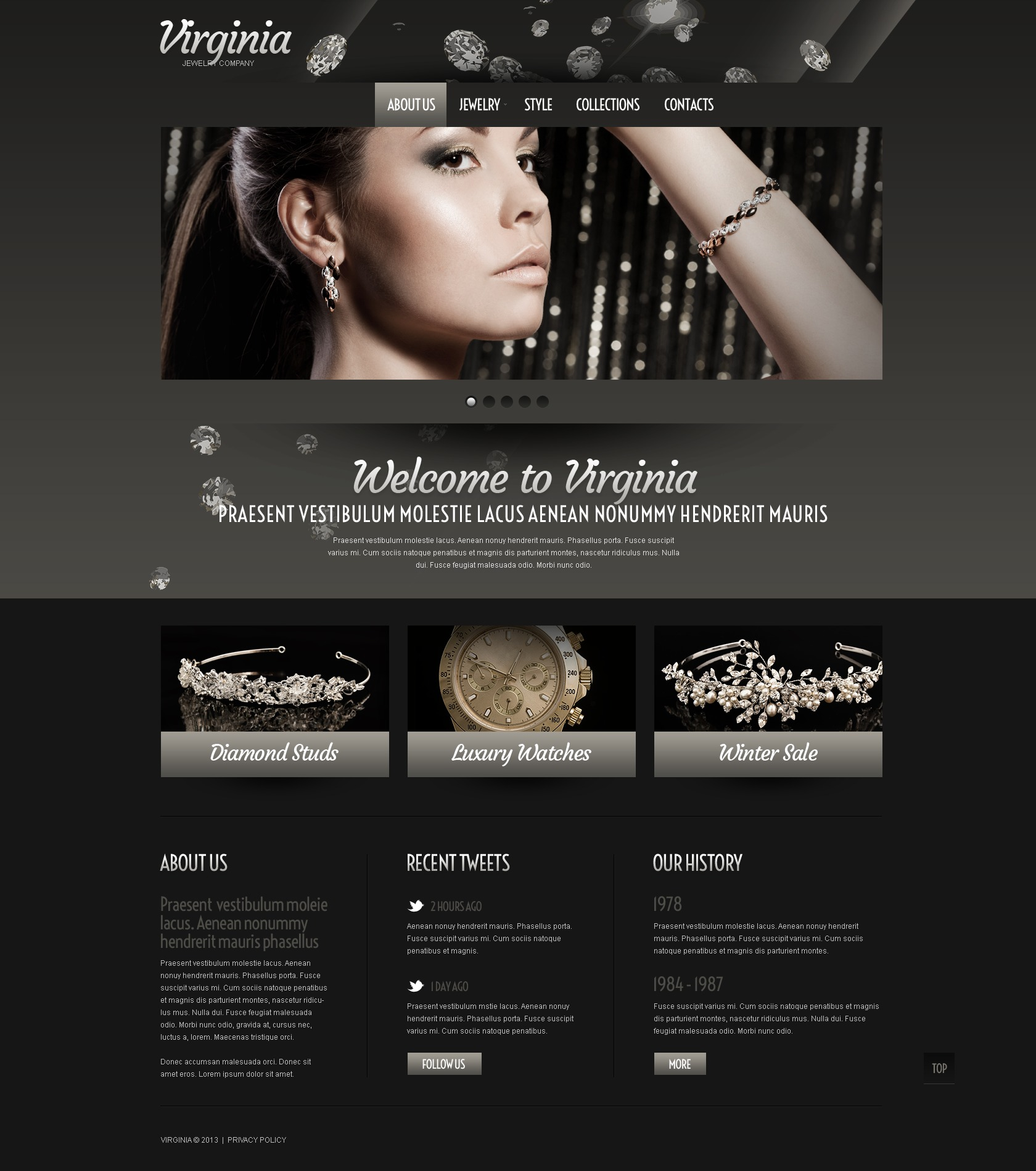Jewelry Website Template #43100