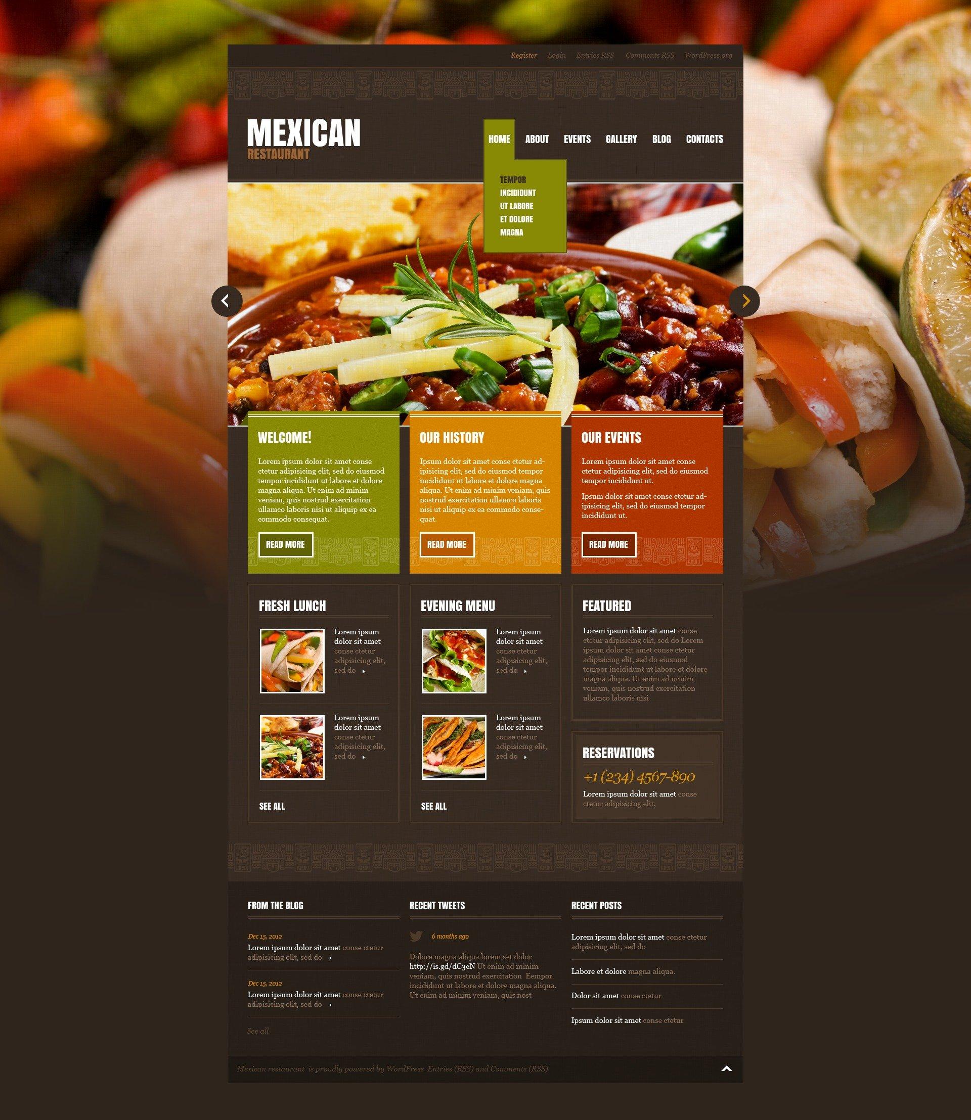 Mexican Restaurant WordPress Theme 43196