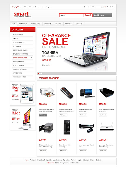 osCommerce Template 43228 Main Page Screenshot