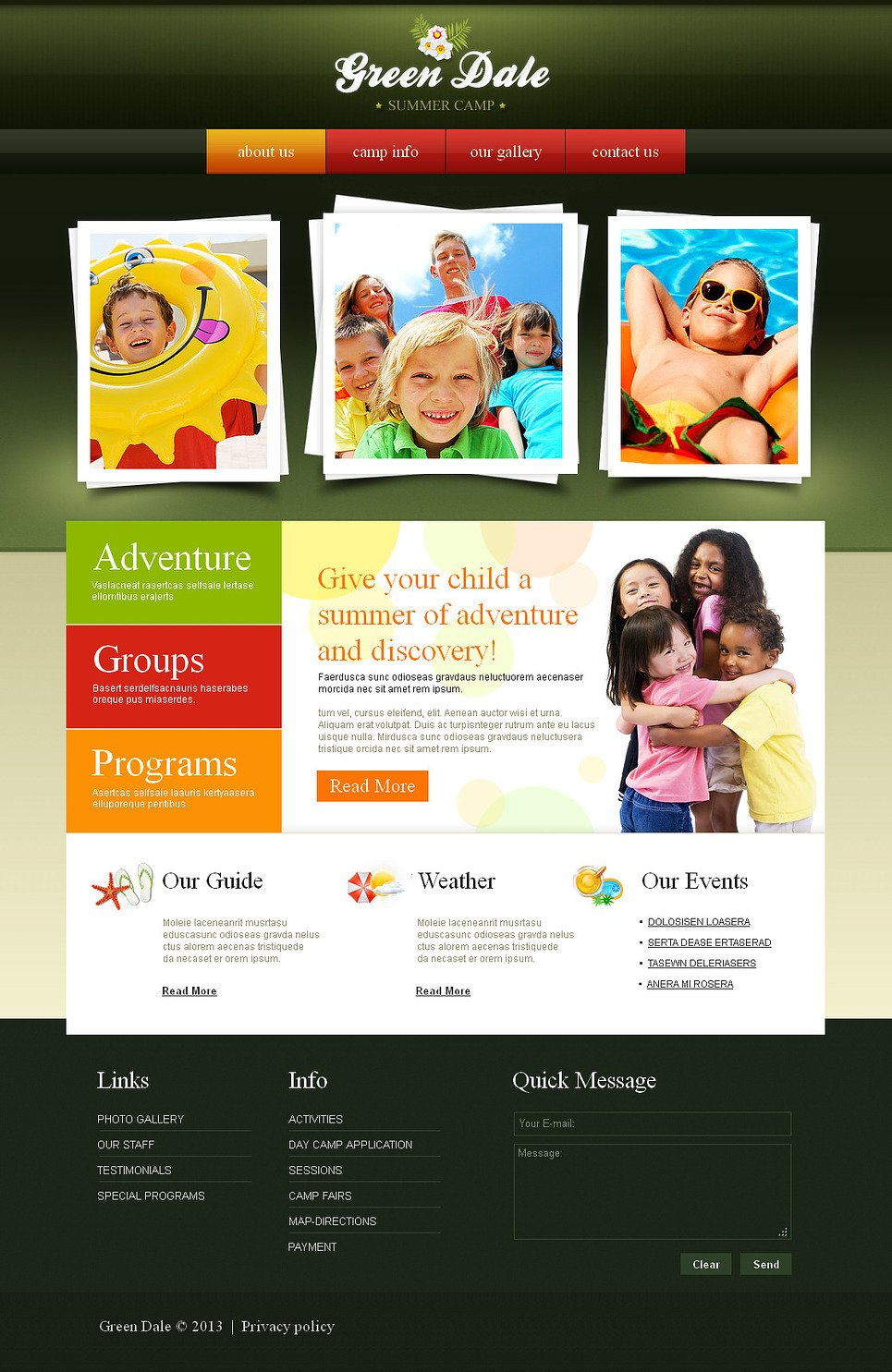 Summer Camp Website Template with the Built-in CMS - image