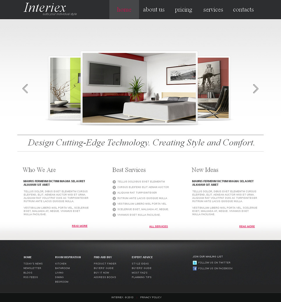 Interior Website Template with Carousel Gallery - image