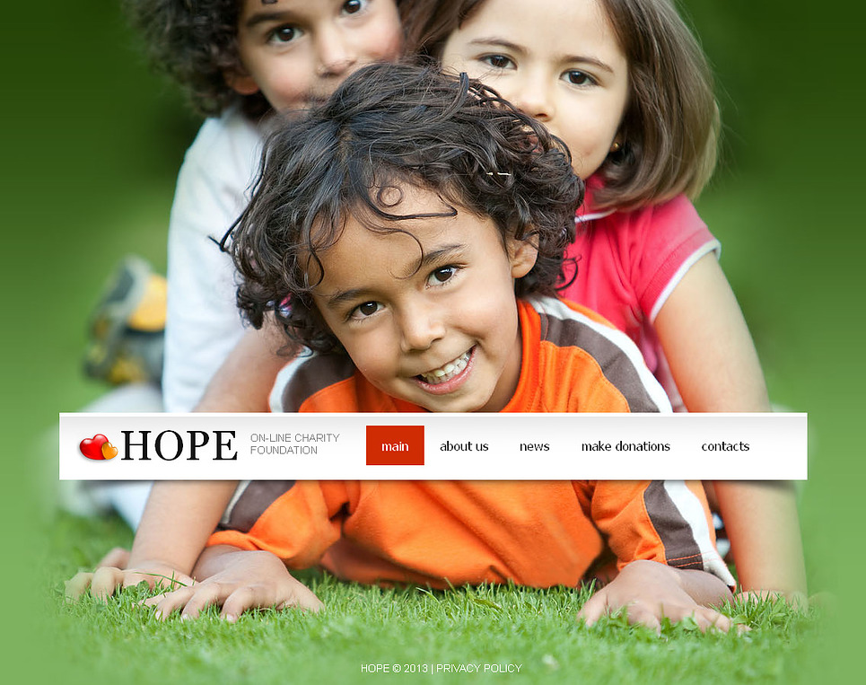 Child Charity Website Template with Photo Background - image