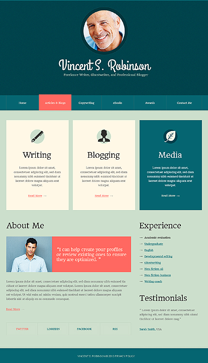 Personal Pages Drupal Template | Website Templates