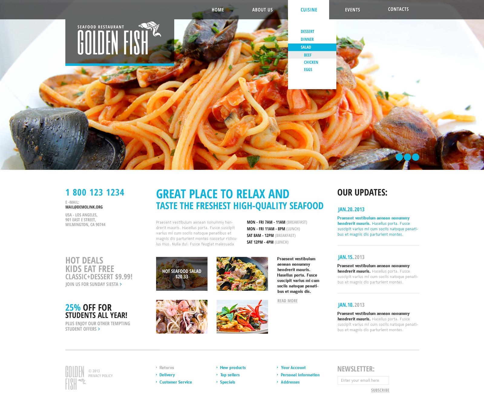 Адаптивный HTML шаблон №43213 на тему ресторан морепродуктов