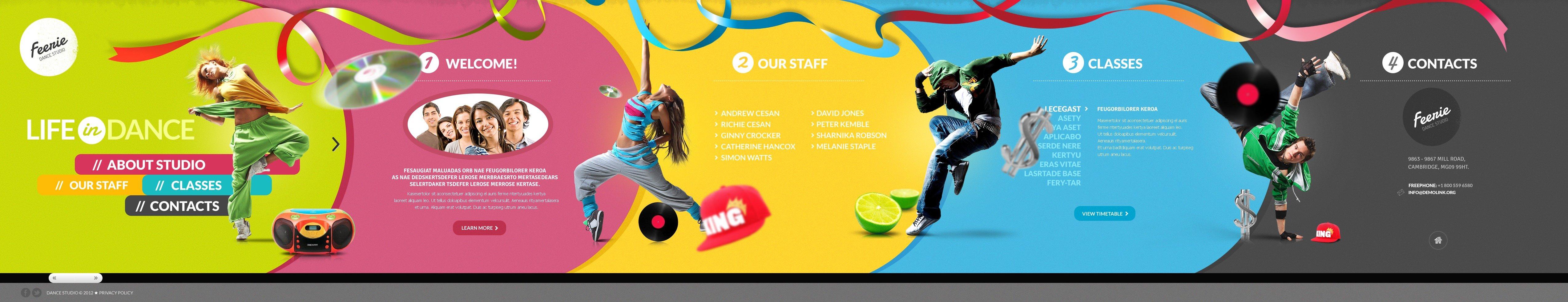 Dance Studio Website Template #43212