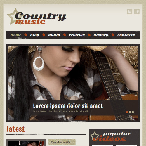 Country Music - Facebook HTML CMS Template