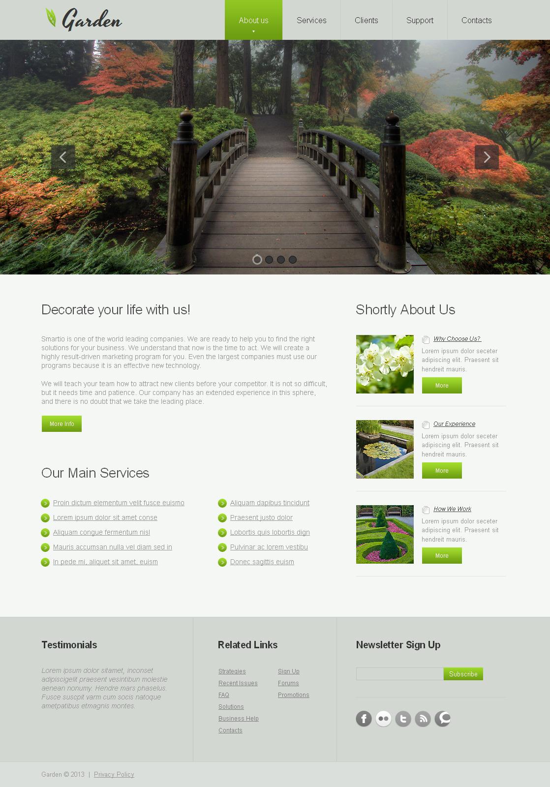 Plantilla Moto CMS HTML #43238 para Sitio de Diseño de jardines - captura de pantalla