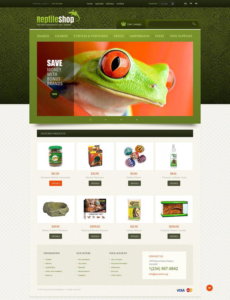 Reptile Shop PrestaShop Theme New Screenshots BIG