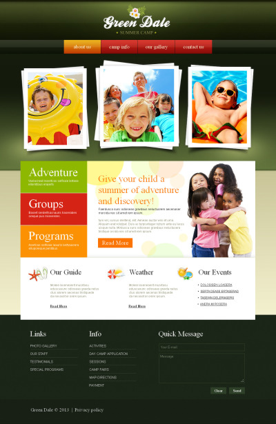 Summer Camp Tema Moto CMS HTML