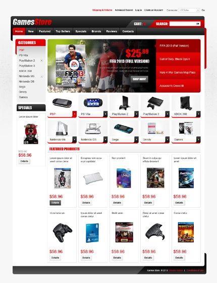osCommerce Template 43332 Main Page Screenshot