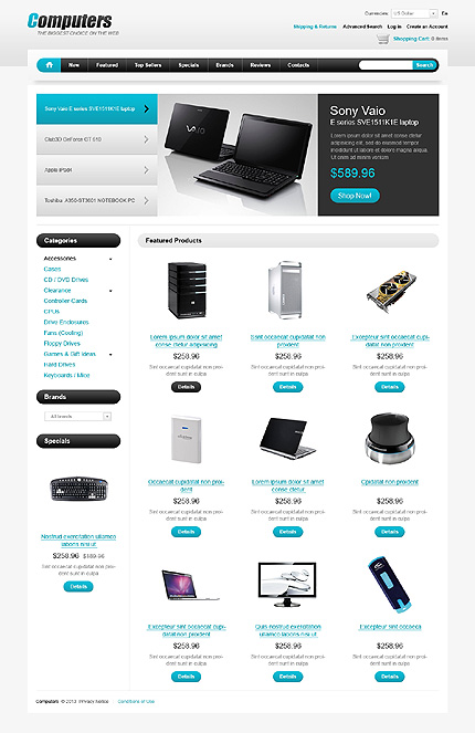 osCommerce Template 43333 Main Page Screenshot