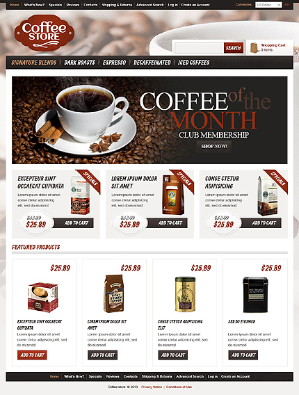 osCommerce Template 43334 Main Page Screenshot