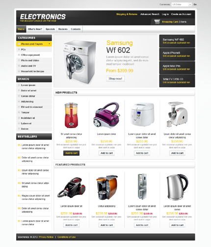 osCommerce Template 43335 Main Page Screenshot