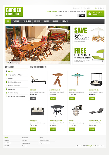 osCommerce Template 43336 Main Page Screenshot