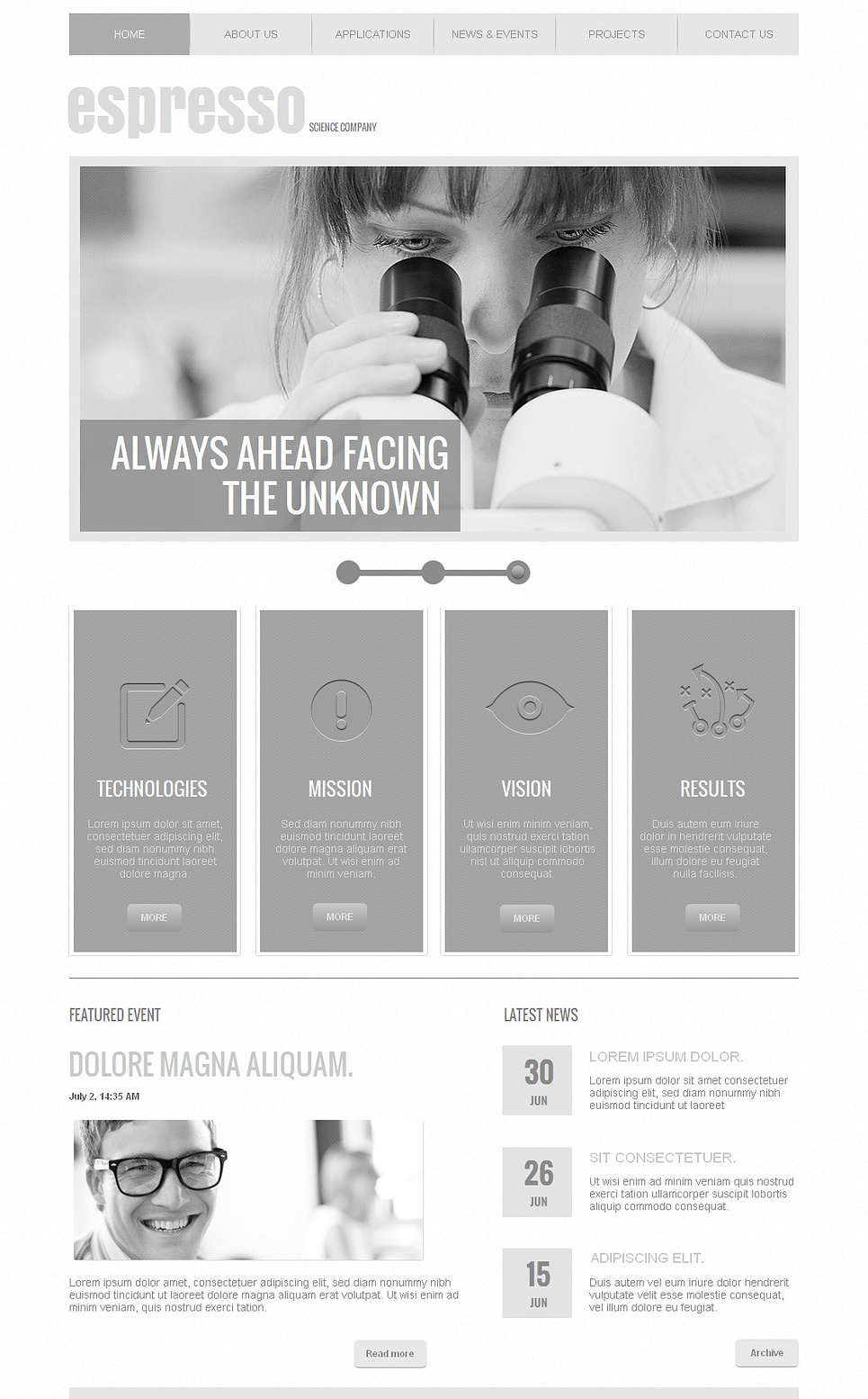 Colorless Website Template for Science Companies - image