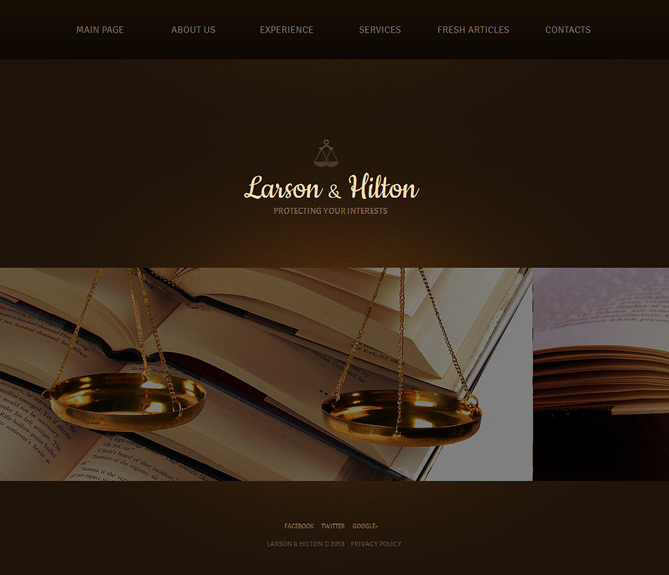Law Website Template with Sliding Gallery and Brown Background - image