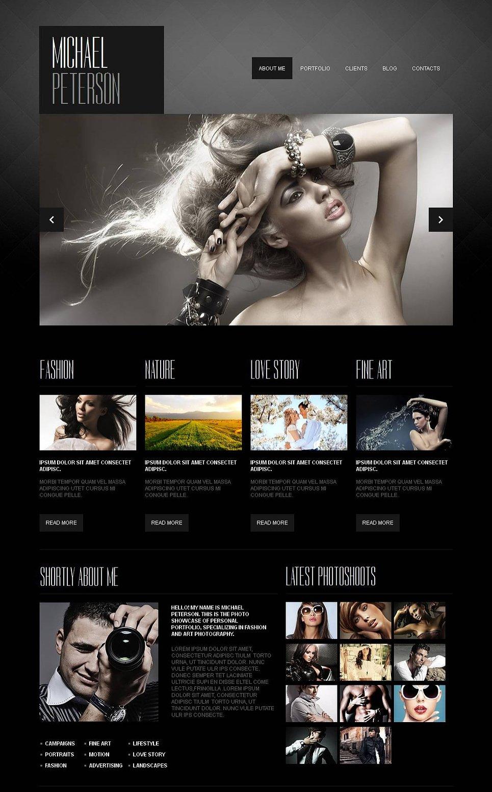 Dark Portfolio Website Template with a Photo Slider - image